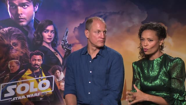 'solo a star wars story' junket interviews england london int woody harrelson and thandie newton interview sot - woody harrelson stock videos & royalty-free footage