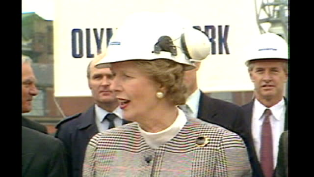 special screening of 1980s gangster film 'empire state' 1980s margaret thatcher wearing hard hat thatcher getting into cab of crane - international landmark stock videos & royalty-free footage