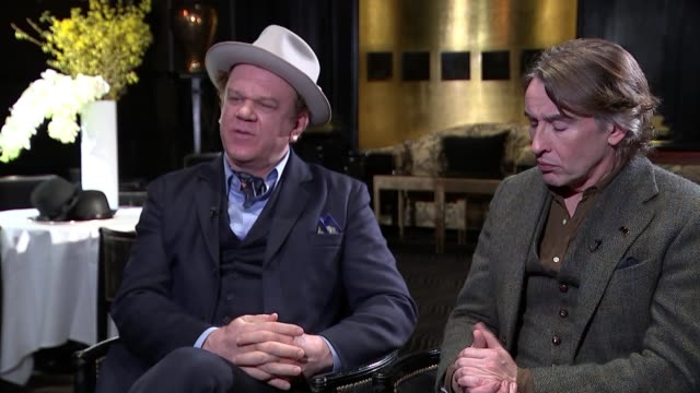 steve coogan and john c. reilly interview; england: london: int reporter chatting to steve coogan and john c. reilly john c. reilly interview sot - steve coogan stock videos & royalty-free footage