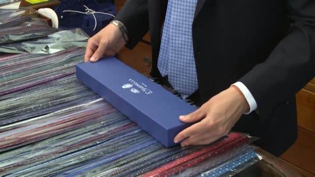 film star marcello mastroianni, john f. kennedy, even prince charles all have donned handmade ties from one shop in naples so famed for its artisanal... - marcello mastroianni stock videos & royalty-free footage