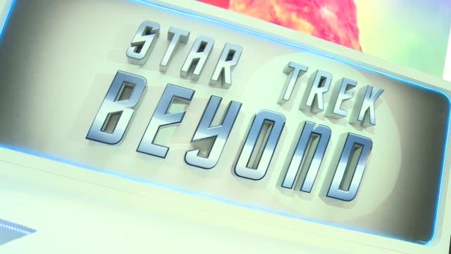 'Star Trek Beyond' premiere Red carpet arrivals ENGLAND London EXT / RAINING **Music heard SOT** Sign 'Star Trek Beyond' / poster in memory of Anton...