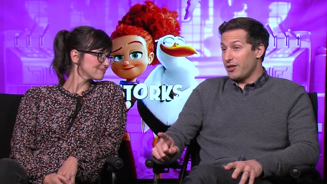 'Storks' Cast interviews ENGLAND London INT Andy Samberg and Katie Crown interview SOT