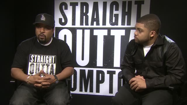 'straight outta compton' interviews england london int ice cube and o'shea jackson jr interview sot jason mitchell interview sot - ice cube stock videos & royalty-free footage