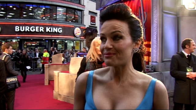 'Sucker Punch' UK premiere in London stars interviewed Carla Gugino interview SOT On being bad ass describes her character a madame Zack encourages...