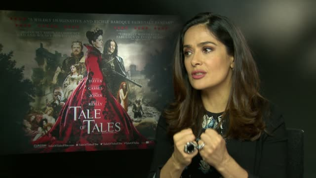 tale of tales toby jones and salma hayek interviews salma heyak interview sot - salma hayek stock videos and b-roll footage