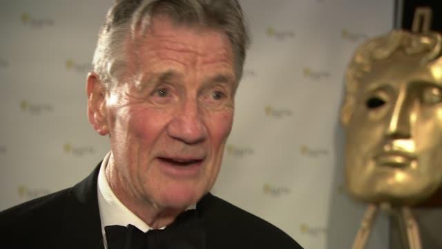 bafta cymru awards 2016 terry jones given special award michael palin interview sot - monty python stock videos & royalty-free footage