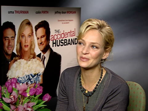 'the accidental husband': uma thurman interview; england: london: int uma thurman interview sot - on producing 'the accidental husband' / like to... - epic film stock videos & royalty-free footage