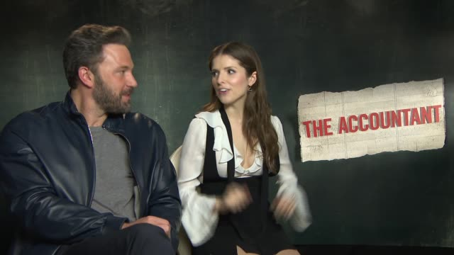 The Accountant junket interviews ENGLAND London INT The Accountant actors Ben Affleck and Anna Kendrick junket interview SOT