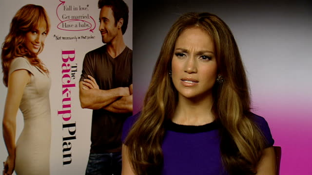 'The BackUp Plan' interviews ENGLAND INT Jennifer Lopez interview SOT On giving her muffins last time I met her/ Her twins their personalities...