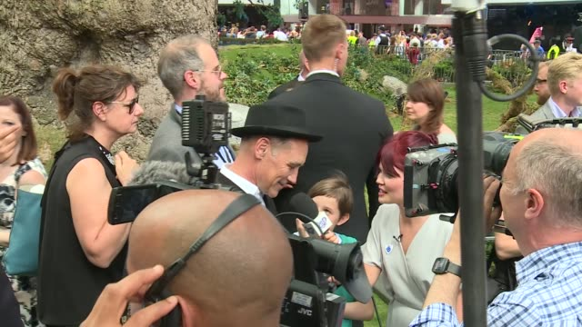 The BFG Premier in Leicester Square **Music heard intermittently SOT** Rebecca Hall chatting to press / Mark Rylance chatting and along / Rylance...