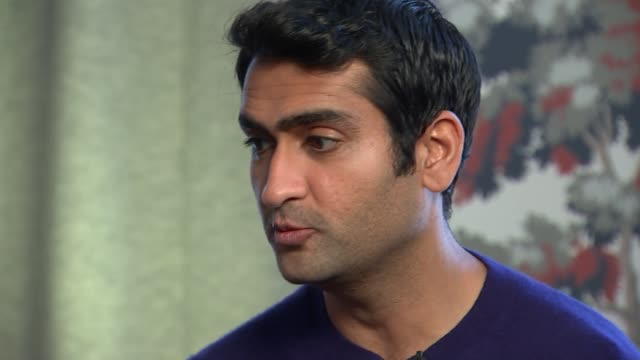 the big sick england london int kumail nanjiani interview sot on having a muslim hero / need different images of muslims in pop culture - cathy newman stock-videos und b-roll-filmmaterial