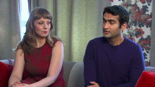 the big sick kumail nanjiani interview sot on experiencing racism doing stand up comedy / his comeback line you're right i'm a terrorist i just do... - cathy newman stock-videos und b-roll-filmmaterial