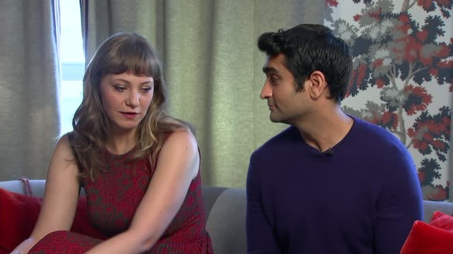 the big sick nanjiani and gordon as itn reporter asks question sot emily v gordon interview sot on her relationship with family of kumail - cathy newman stock-videos und b-roll-filmmaterial