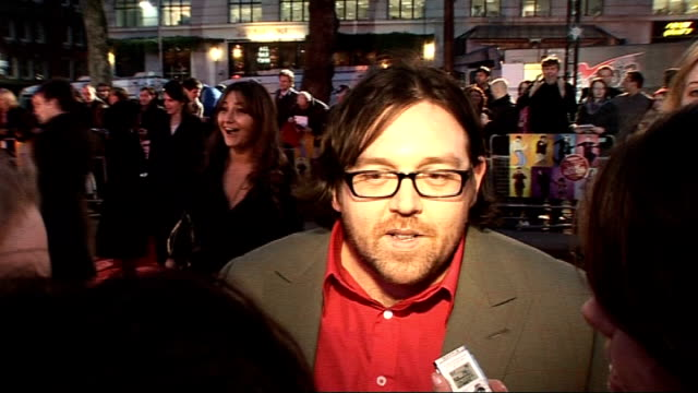 'the boat that rocked' premiere arrivals and interviews nick frost interviewed by press sot on how well they got on / had bunks on naked scene just... - nick frost actor stock videos & royalty-free footage