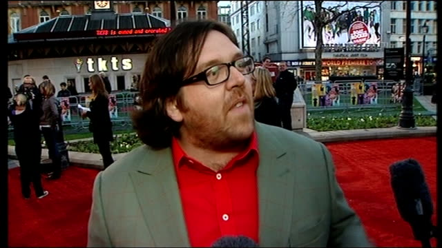 'the boat that rocked' premiere arrivals nick frost interview sot been nervous all day / what it was like being part of production on stripping off... - nick frost actor stock videos & royalty-free footage