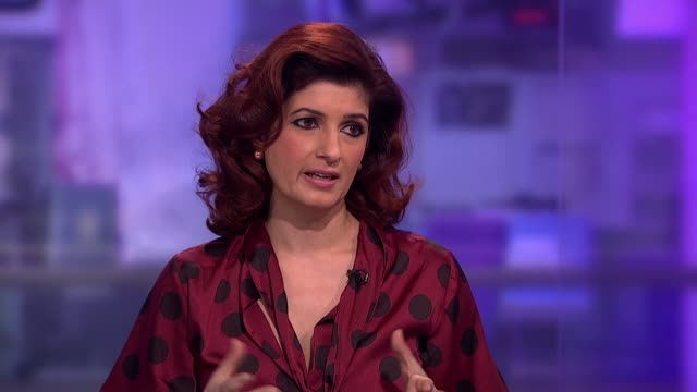 the bollywood producer behind the world's first film about sanitary pads england london gir int twinkle khanna interview sot - bollywood stock videos and b-roll footage