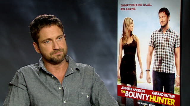 'The Bounty Hunter' premiere interview with Gerard Butler ENGLAND London INT Gerard Butler interview SOT On Bounty Hunter being a more hardedged...
