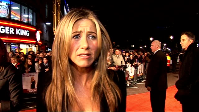 'The Bounty Hunter' premiere Up and down shot of Jennifer Aniston Jennifer Aniston interview SOT How she managed to run in heels throughout the film...
