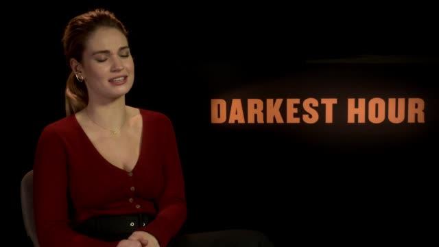 'The Darkest Hour' junket interviews Lily James interview SOT