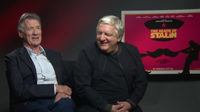 'the death of stalin' junket interviews england london int michael palin and simon russell beale interview sot / jason isaacs and andrea riseborough... - jason isaacs stock videos & royalty-free footage