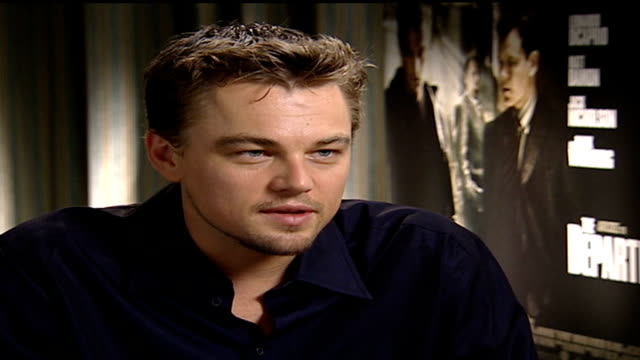 'the departed'; england: london: int leonardo dicaprio interview sot - working with martin scorcese and jack nicholson made everyone tense - jack nicholson stock videos & royalty-free footage