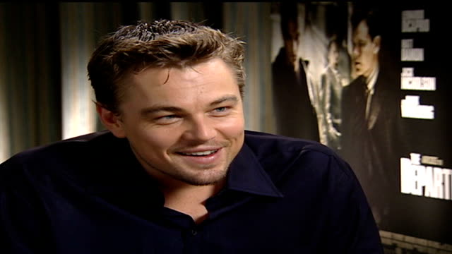 'the departed' england london int leonardo dicaprio interview sot not allowed into the edit suite after filming ray winstone interview sot left to... - ray winstone stock videos & royalty-free footage