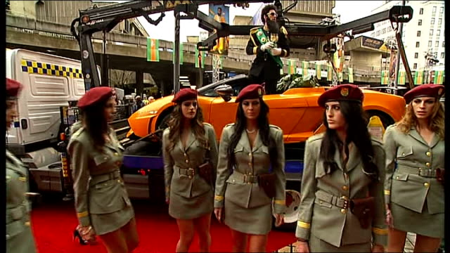 'the dictator' london premiere: red carpet arrivals and interviews; various of sacha baron cohen speech to journalists and crowd as standing on back... - premiere event stock videos & royalty-free footage