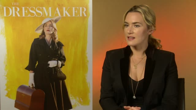 the dressmaker kate winslet interview england london int kate winslet interview sot re new film 'the dressmaker' - kate winslet stock-videos und b-roll-filmmaterial