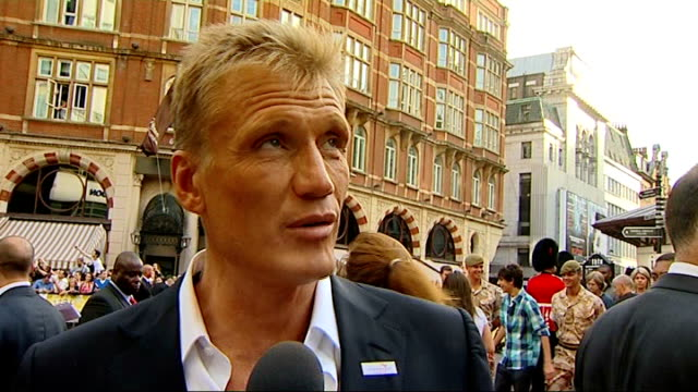 'the expendables' london premiere; dolph lundgren interview sot - big guys getting hit for real - リチャード・パロット点の映像素材/bロール