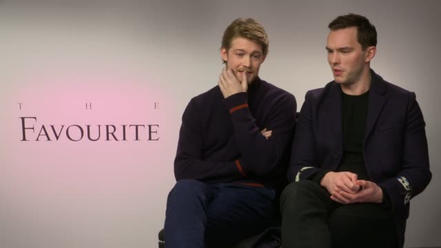 'The Favourite' junket interviews ENGLAND INT Joe Alwyn and Nicholas Hoult interview SOT