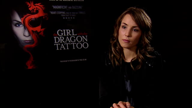 'the girl with the dragon tattoo' noomi rapace interview noomi rapace interview continues sot on stieg larsson walking tours in stockholm /... - the girl with the dragon tattoo stock videos and b-roll footage