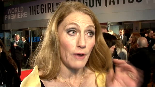 'the girl with the dragon tattoo' world premiere geraldine james red carpet interview sot/ various of geraldine james talking to press on red carpet - the girl with the dragon tattoo stock videos and b-roll footage