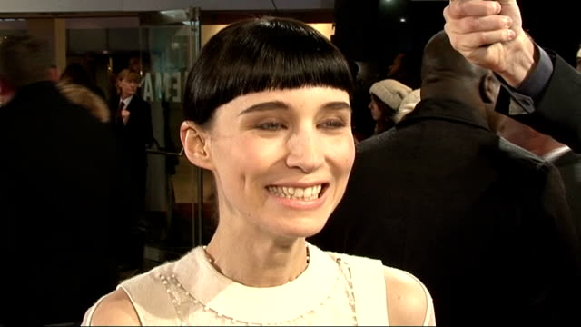 'the girl with the dragon tattoo' world premiere; rooney mara red carpet interview sot/ various shots of rooney mara talking to press on red carpet - tattoo stock videos & royalty-free footage