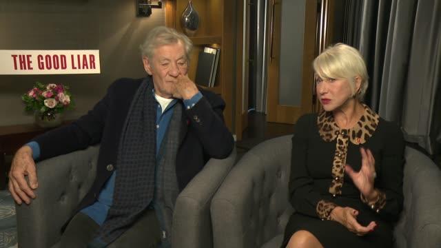 'the good liar': sir ian mckellen and dame helen mirren interview; england: london: int sir ian mckellen and dame helen mirren interview sot - ian mckellen stock videos & royalty-free footage