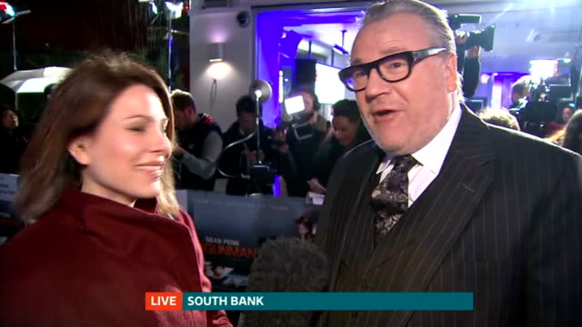 'the gunman' film premiere ray winstone live interview sot reporter to camera - ray winstone stock videos & royalty-free footage