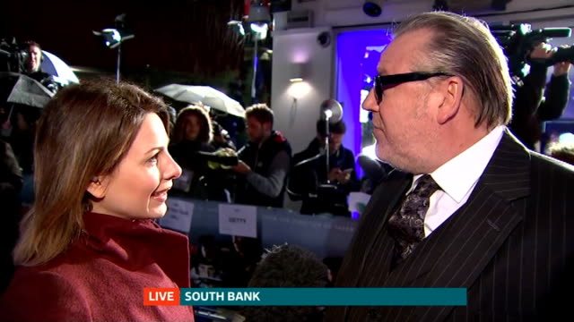 'the gunman' film premiere ray winstone live interview sot - ray winstone stock videos & royalty-free footage