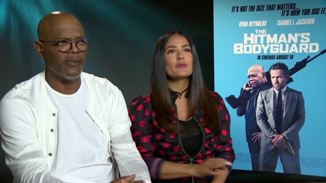 'The Hitman's Bodyguard' junket interview ENGLAND London INT Samuel L Jackson and Salma Hayek interview SOT re new film 'The Hitman's Bodyguard'