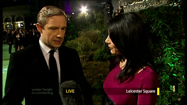vídeos y material grabado en eventos de stock de 'the hobbit an unexpected journey' london film premiere martin freeman interview sot - martin freeman