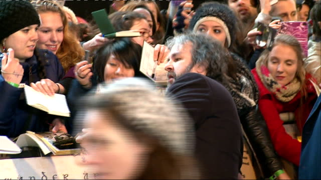 the battle of the five armies: uk film premiere; peter jackson signing autographs and general views peter jackson interview sot - the hobbit: the battle of the five armies stock videos & royalty-free footage