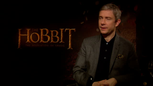 the hobbit the desolation of smaug interviews england london int martin freeman interview sot richard armitage interview sot - martin freeman stock videos and b-roll footage