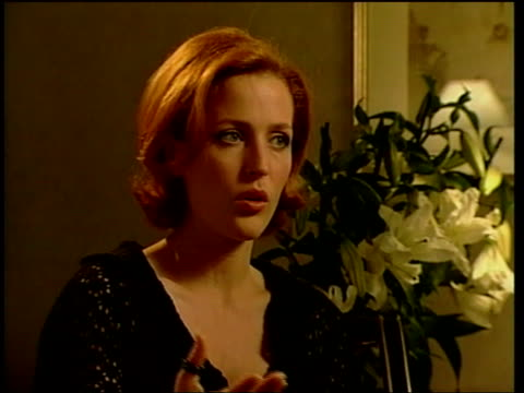 'the house of mirth' usa new york int gillian anderson interview sot terence's way of interpreting the poetic nature of her writing was thru images /... - gillian anderson stock videos & royalty-free footage