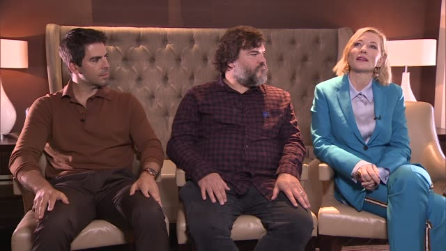 'The House with a Clock in Its Walls' Cate Blanchett Jack Black and Eli Roth interview ENGLAND London INT Eli Roth Jack Black and Cate Blanchett...