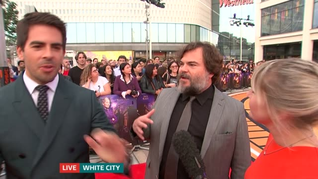 'The House with a Clock in Its Walls' Jack Black and Eli Roth interview ENGLAND London White City EXT Eli Roth and Jack Black LIVE interview SOT
