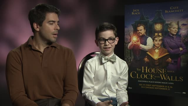 'The House with a Clock in its Walls' junket interviews ENGLAND London INT Eli Roth and Owen Vaccaro interview SOT