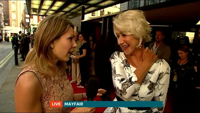 'The HundredFoot Journey' London premiere ENGLAND London Mayfair EXT Dame Helen Mirren interview at premiere of 'The HundredFoot Journey' SOT