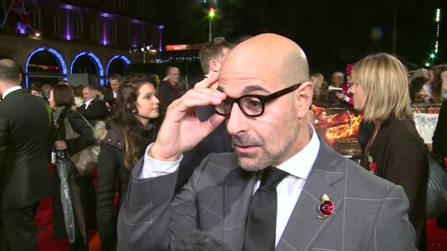 'The Hunger Games Mockingjay Part 2' red carpet arrivals GVs Stanley Tucci / Stanley Tucci interview SOT / GVs Elizabeth Banks / Elizabeth Banks...