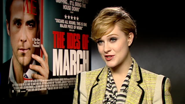 'The Ides of March Evan Rachel Wood interview ENGLAND London INT Evan Rachel Wood interview SOT On George Clooney he's awesome a great boss / on...