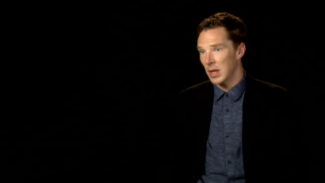 'the imitation game' film premiere; benedict cumberbatch interview sot - benedict cumberbatch stock videos & royalty-free footage