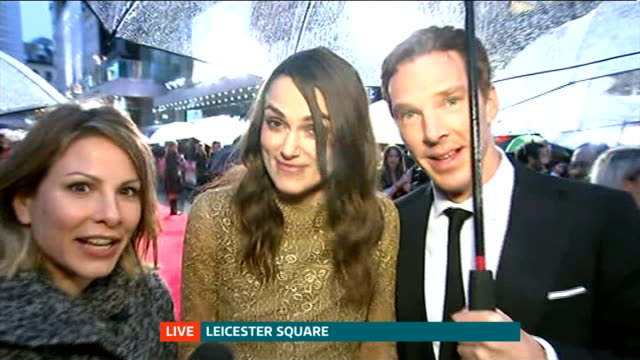 'The Imitation Game' film premiere ENGLAND London Leicester Square EXT **Music heard SOT** PHOTOGRAPHY** Reporter to camera Keira Knightley and...