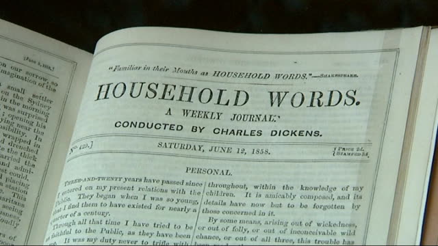 vidéos et rushes de the invisible woman fiennes interview sot various close up shots 'household words' journal portrait of charles dickens on wall claire tomalin... - invisible